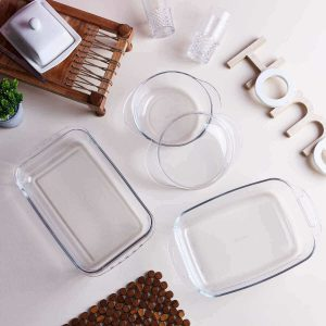 Glass casserole- utensils for serving