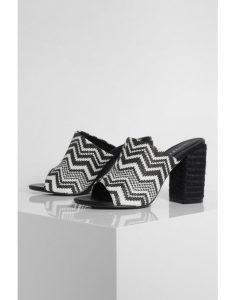Woven Peeptoe Block Heel Mules - black best shoes for work