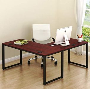 "SHW Home Office 55""x60"" Large L Shaped Corner Desk, Black Cherry- essentials for setting up a great personal workspace at home"