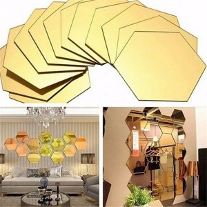12-pack Removable Hexagon 3D Mirror Wall Stickers- wall decoration
