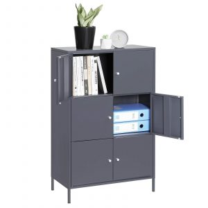 SONGMICS Metal Storage Cabinets with 6 Doors- essentials for setting up a personal workspace at home