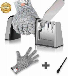 Knife sharpener and cut resistant gloves
