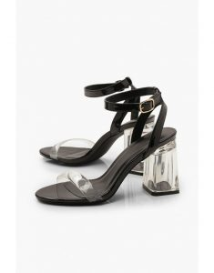 Wrap Up Clear Block Heels - black - transparent sandal