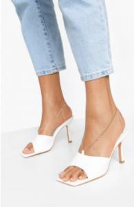 WomenChain Detail Square Toe Mules white