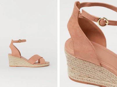 Wedge-heeled Sandals with crossover straps